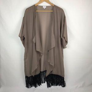 LuLaRoe Beige/Black Fringed Swimsuit Cover Size L